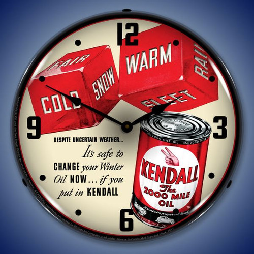 Kendall Motor Oil Lighted Wall Clock 14 x 14 Inches