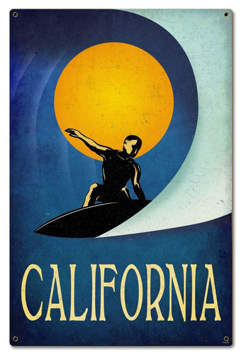 California Surfer Metal Sign 16 x 24 Inches