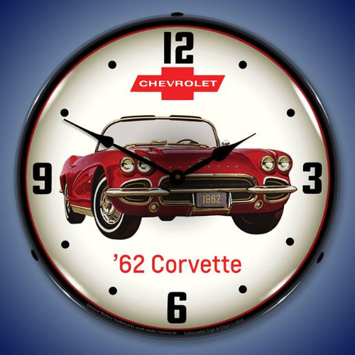 1962 Corvette Lighted Wall Clock 14 x 14 Inches