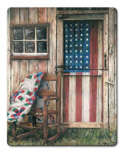 American Flag Rocking Chair Metal Sign 12 x 15 Inches