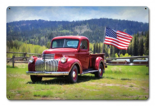 Red Truck American Flag Metal Sign 18 x 12 Inches