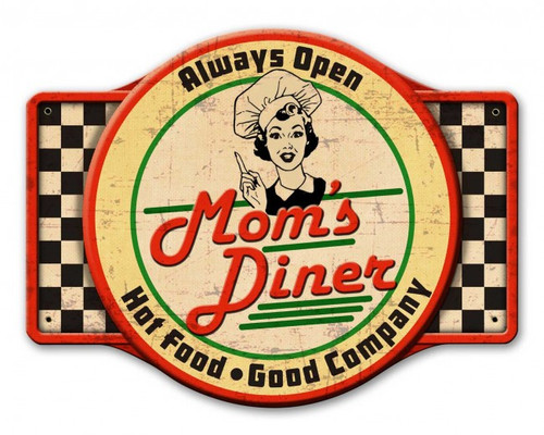 Mom's Diner Metal Sign 24 x 18 Inches