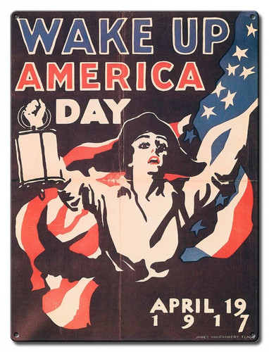 Wake Up America Day Metal Sign 12 x 16 Inches