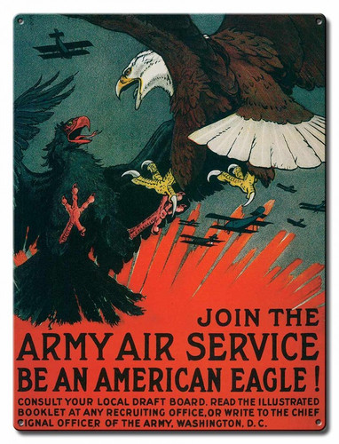 Army Air Service Metal Sign 12 x 16 Inches