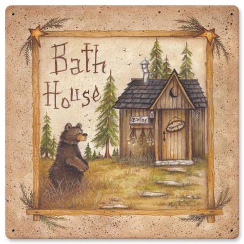 Bath House Bear Metal Sign 12 x 12 Inches