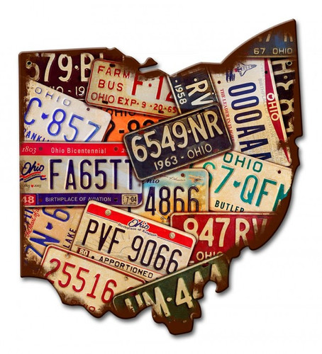 Ohio License Plates Metal Sign 11 x 13 Inches