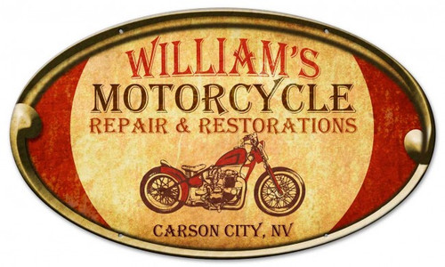 Motorcycle Repair Oval Metal Sign - Personalized 24 x 14 Inches