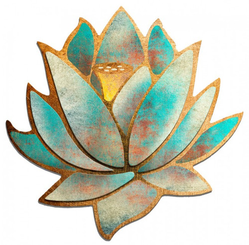 3D Blue Lotus Flower Metal Sign Metal Sign 36 x 36 Inches