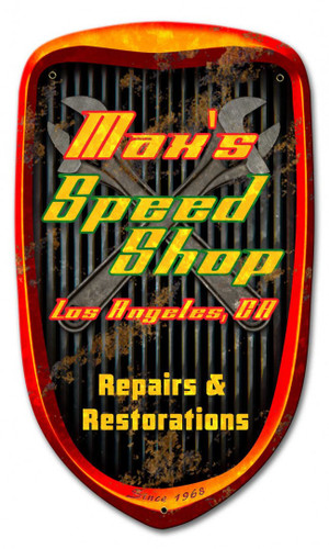 Speed Shop Grill Metal Sign - Personalized 24 x 14 Inches