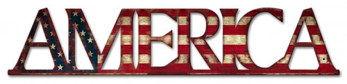 America Flag Metal Sign 6 x 30 Inches