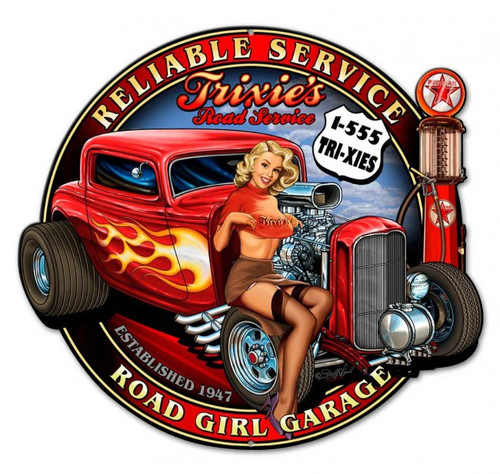 Trixies Hot Rod Pinup Metal Sign 24 x 22 Inches