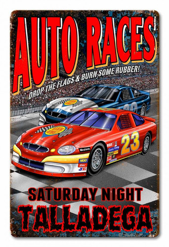 Auto Races Metal Sign 12 x 18 Inches
