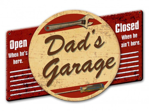 Dad's Garage 3-D Metal Sign 22 x 15 Inches