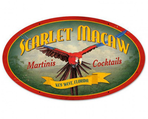 Scarlet Macaw Metal Sign 24 x 14 Inches