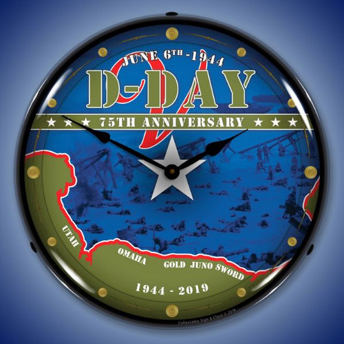 D-Day 75th Anniversary Lighted Wall Clock 14 x 14 Inches