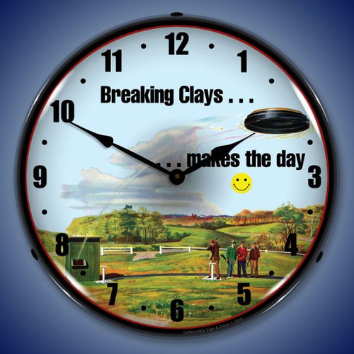 Shooting Clays Lighted Wall Clock 14 x 14 Inches