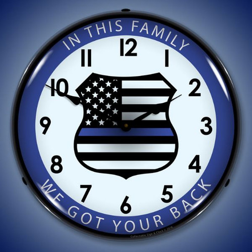 Thin Blue Line Lighted Wall Clock 14 x 14 Inches