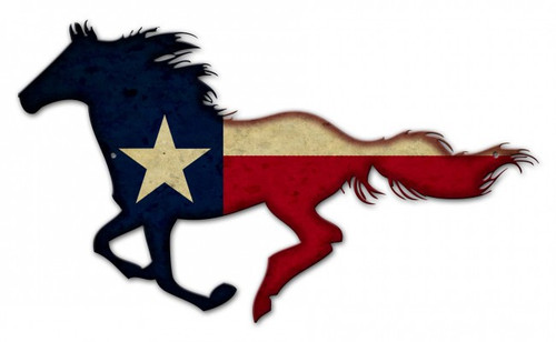 Texas Horse Metal Sign 24 x 15 Inches