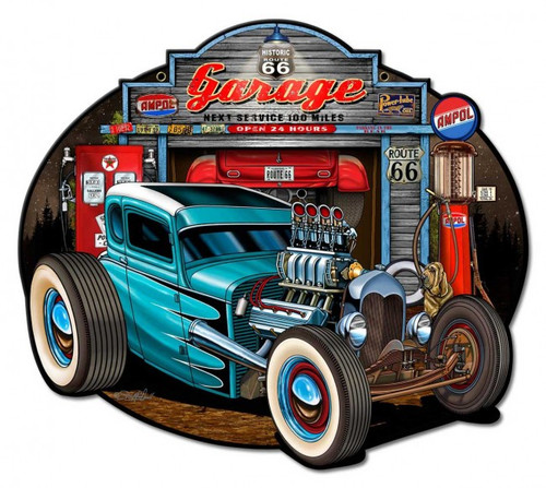 Garage Rod Metal Sign 18 x 16 Inches