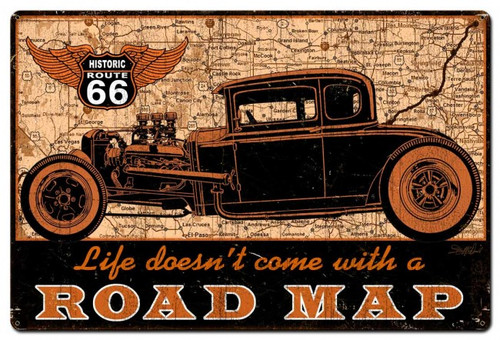 Road Map Metal Sign 36 x 24 Inches