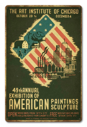 Art Institute Of Chicago 49th Annual Distressed Metal Sign 12 x 18 Inches