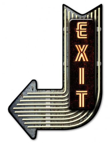 Exit Left Arrow 3-D Metal Sign 17 x 25 Inches