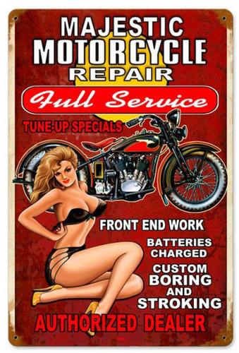 Majestic Repair Pinup Metal Sign 12 x 18 Inches