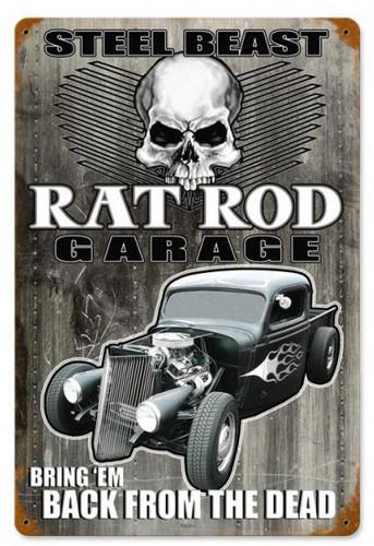 Steel Beast Rat Rod Garage Metal Sign 12 x 18 Inches