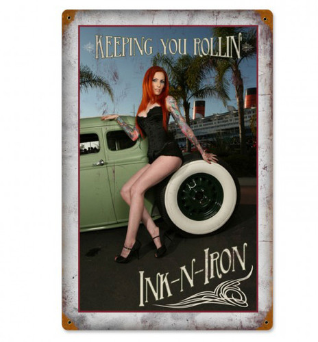 Keeping You Rolling Pinup Metal Sign 12 x 18 Inches