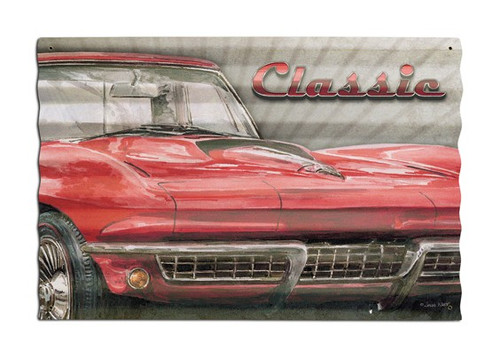 Classic Car Corrugated Metal Sign 24 x 16 Inches