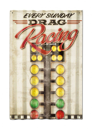 Drag Racing  Corrugated Metal Sign 16 x 24 Inches