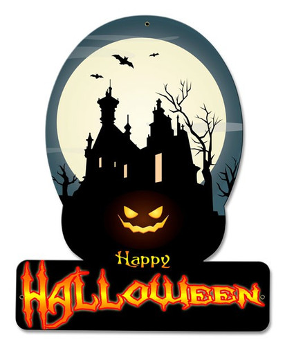 Happy Halloween Haunted House Metal Sign 12 x 15 Inches