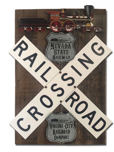 Train Crossroad Railway Set  On Wood Metal Sign 18 x 26 Inches