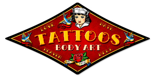 Sailor Tattoos Metal Sign 22 x 14 Inches