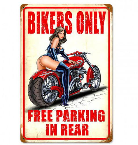 Bikers Free Parking in Rear Pin-Up Metal Sign 12 x 18 Inches