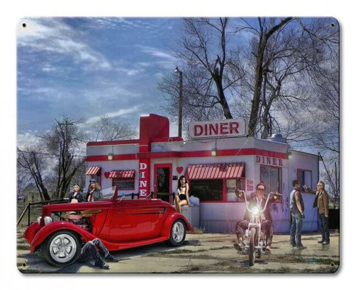 Red Heart Diner Metal Sign 15 x 12 Inches