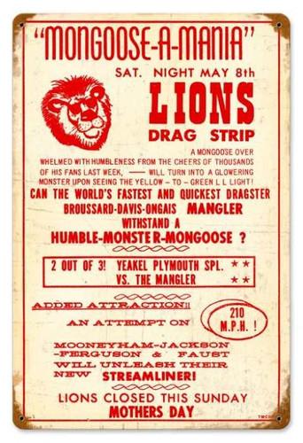 Vintage-Retro Lions Drag Strip Metal-Tin Sign 3