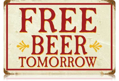 Retro Free Beer Metal Sign 18 x 12 Inches
