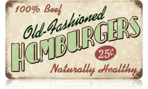 Retro Old Fashioned Hamburgers Metal Sign