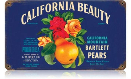 Retro California Beauty Metal Sign 14 x 8 Inches