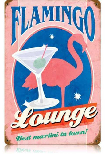 Retro Flamingo Lounge Metal Sign 12 x 18 Inches