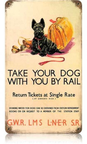 Vintage-Retro Dog by Rail Metal-Tin Sign