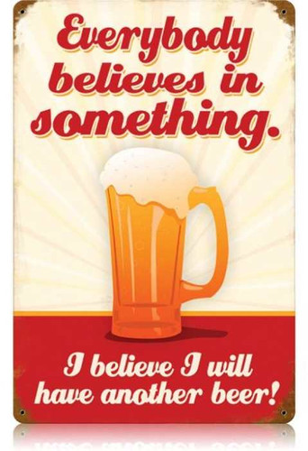 Vintage-Retro Believe Another Beer Metal-Tin Sign LARGE