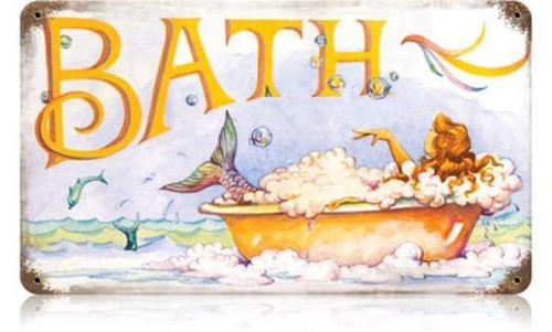 Retro Mermaid Bath Metal Sign 14 x 8 Inches