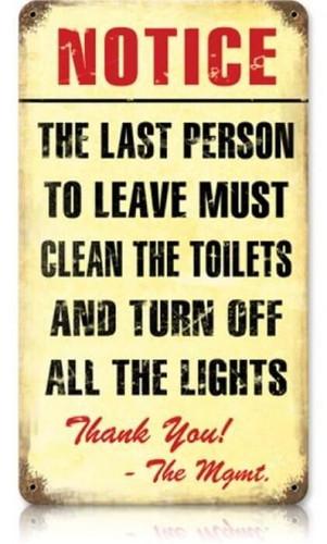 Vintage Clean Bathroom Metal Sign 8 x 14 Inches