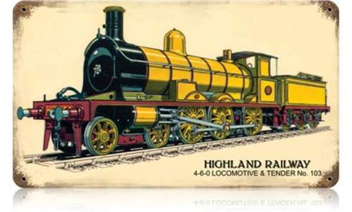 Retro Highland Railway Metal Sign 14 x 8 Inches