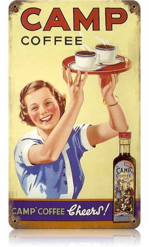 Vintage Camp Coffee Metal Sign 8 x 14 Inches