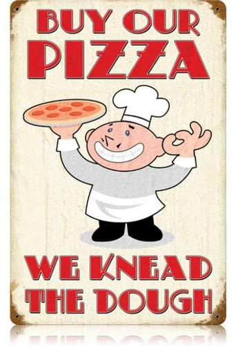 Vintage-Retro Buy Our Pizza Metal-Tin Sign LARGE