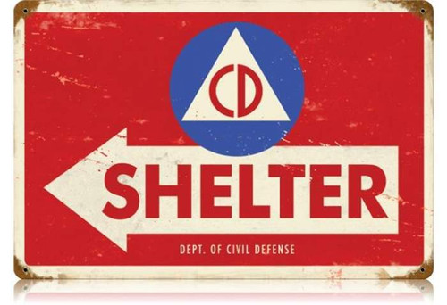 Retro Civil Defense Metal Sign 18 x 12 Inches