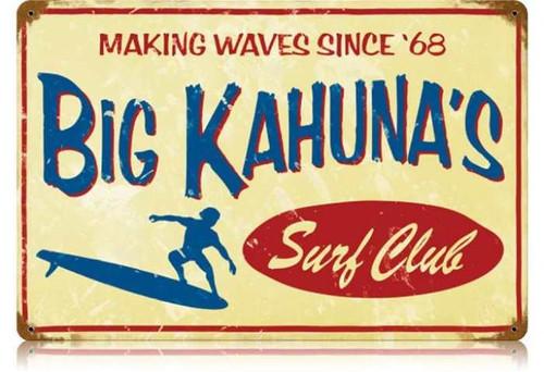 Retro Big Kahuna Metal Sign   18 x 12 Inches